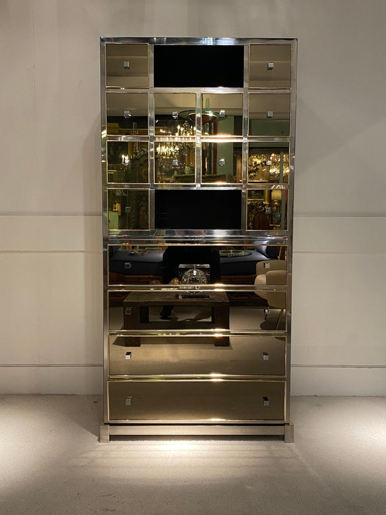 Late 20th Century 1970s Mirrored Cabinet by Michel Pigneres For Sale