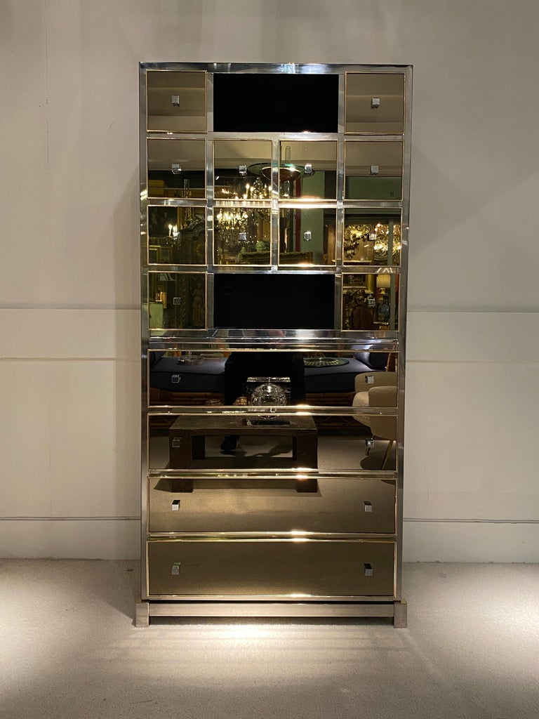 Brass 1970s Mirrored Cabinet by Michel Pigneres For Sale