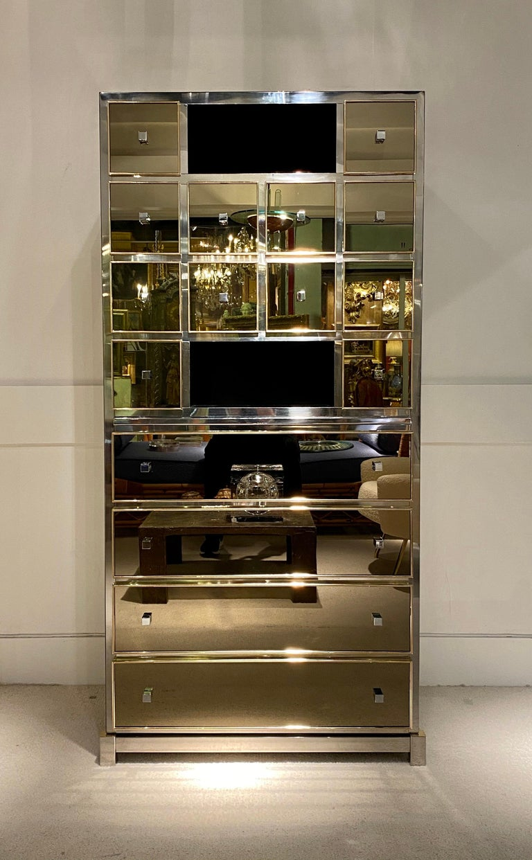 1970s Mirrored Cabinet by Michel Pigneres For Sale 1