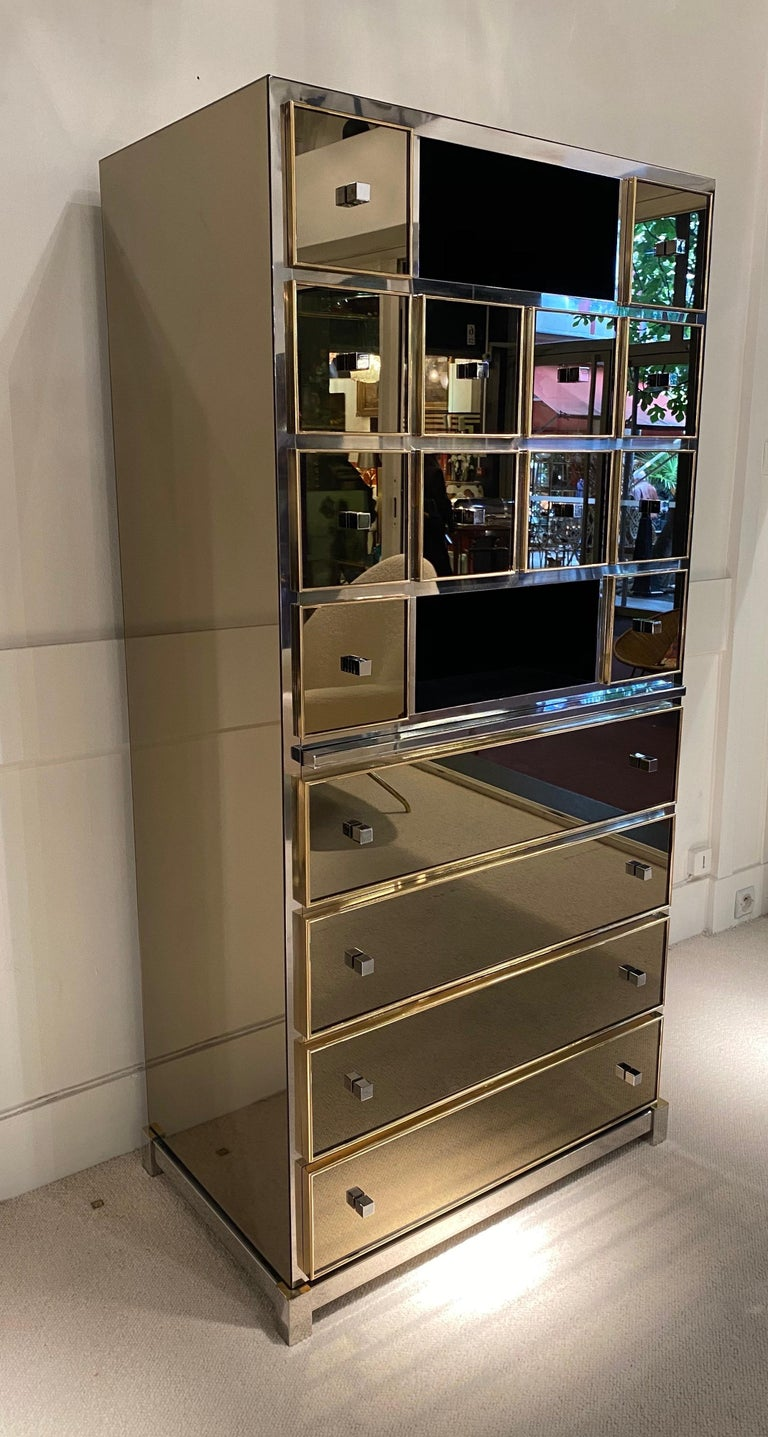 1970s Mirrored Cabinet by Michel Pigneres For Sale 2