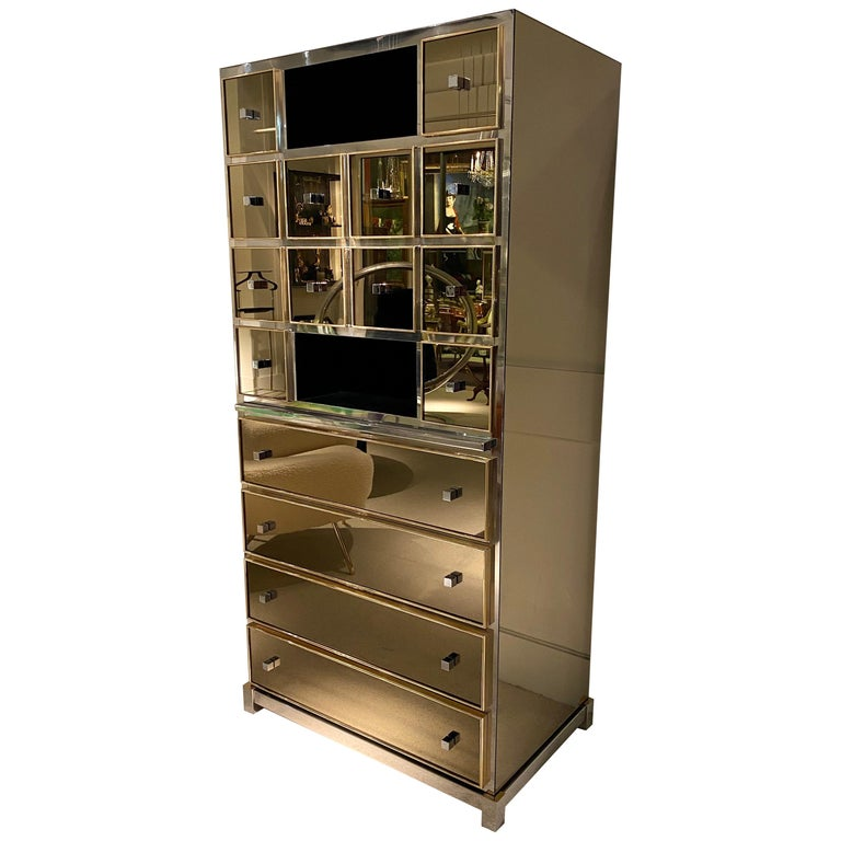 1970s Mirrored Cabinet by Michel Pigneres For Sale