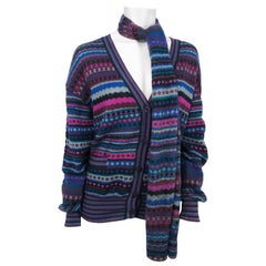 1970s Missoni Knit Cardigan with Matching Scarf