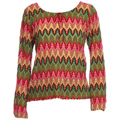 1970S MISSONI Style Pink & Green Acrylic Knit Boho Top Made In Japan