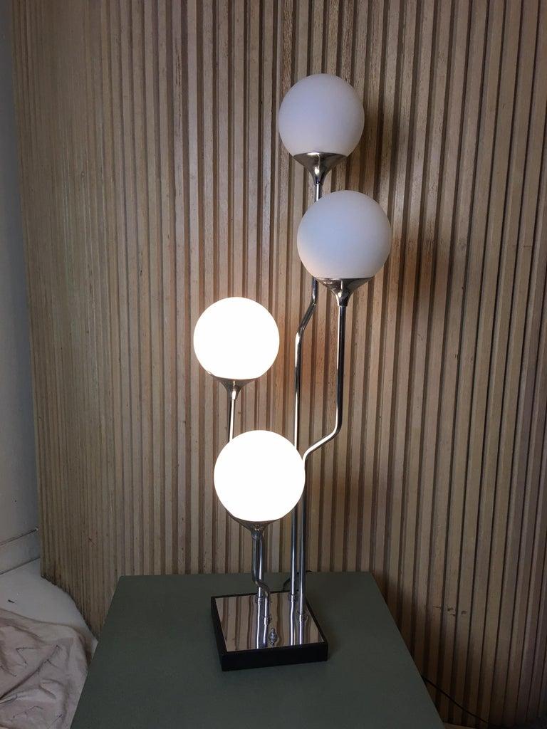 1970s Mod Chrome with 4 Globe Table Lamp 1