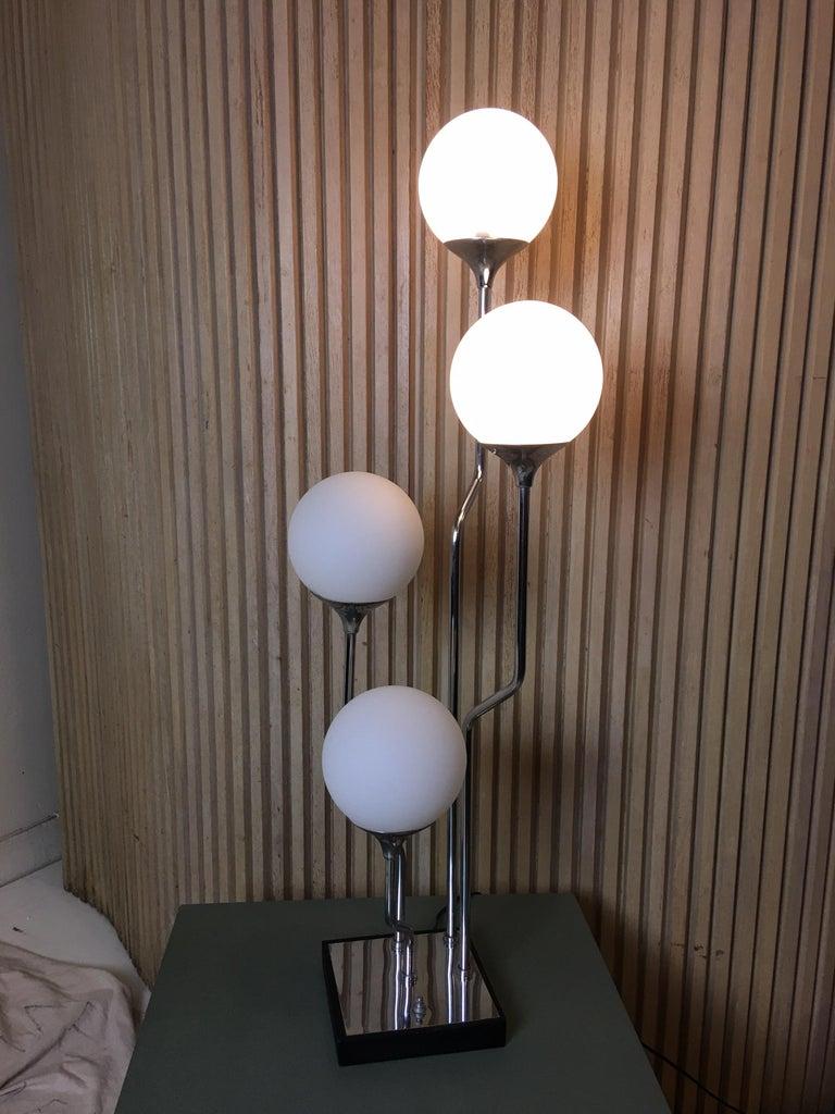 1970s Mod Chrome with 4 Globe Table Lamp 2