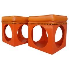 1970's Mod Orange Cube Stools