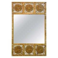 1970s Mod Rattan/Wicker Paneled Sunburst Trumeau Style Mirror
