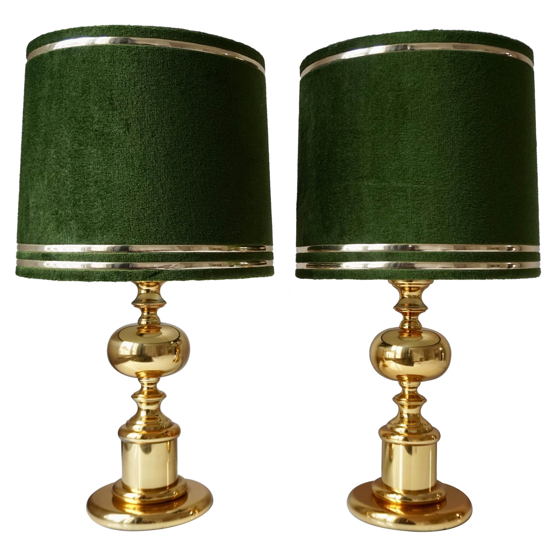 1970s Modern Brass and Velvet Table Lamps