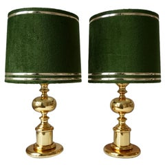 1970s Modern Brass and Velvet Table Lamps