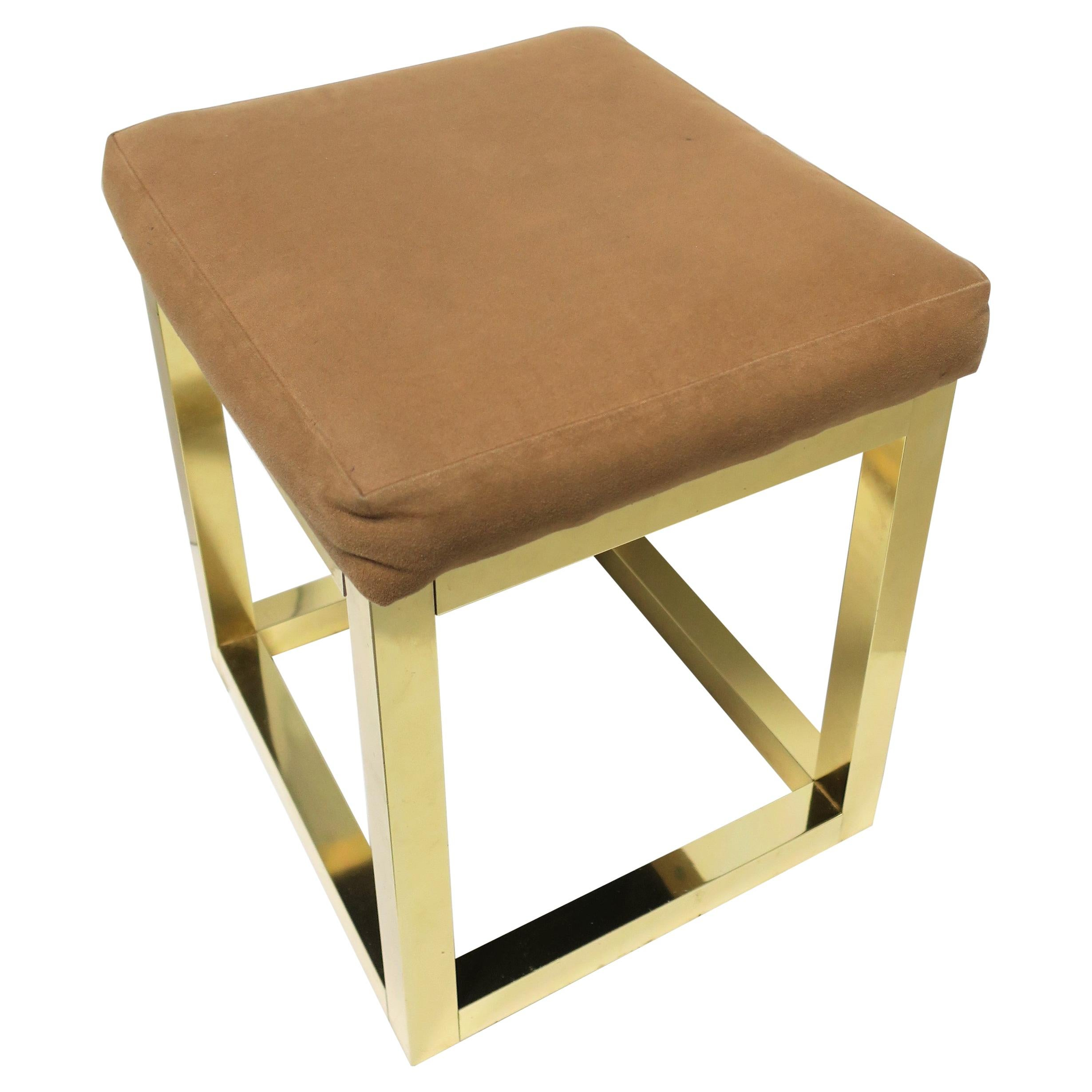 1970s Modern Brass Bench or Stool in the Style of Designer Paul Evans