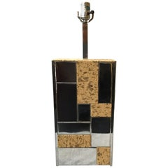1970s Paul Evans Cityscape  Style  Chrome and Cork Table Lamp
