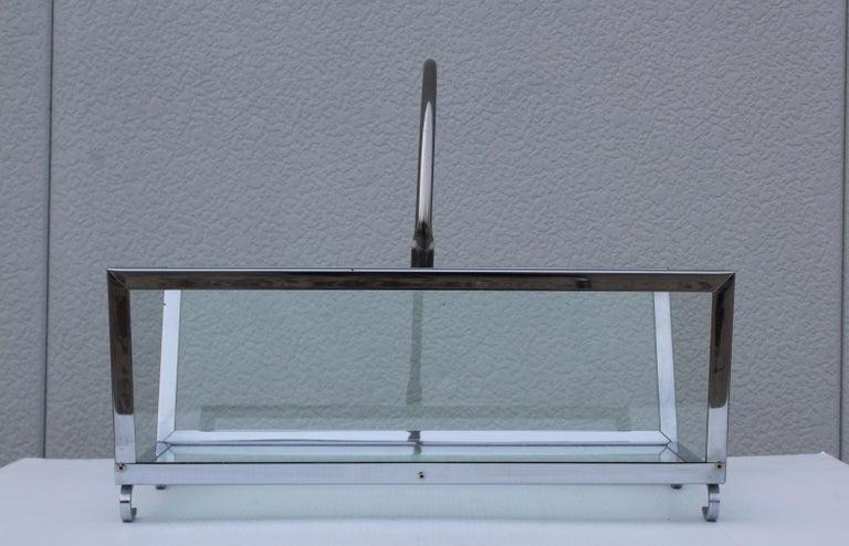 Mid-Century Modern 1970s Modern Chrome and Glass Log Holder For Sale
