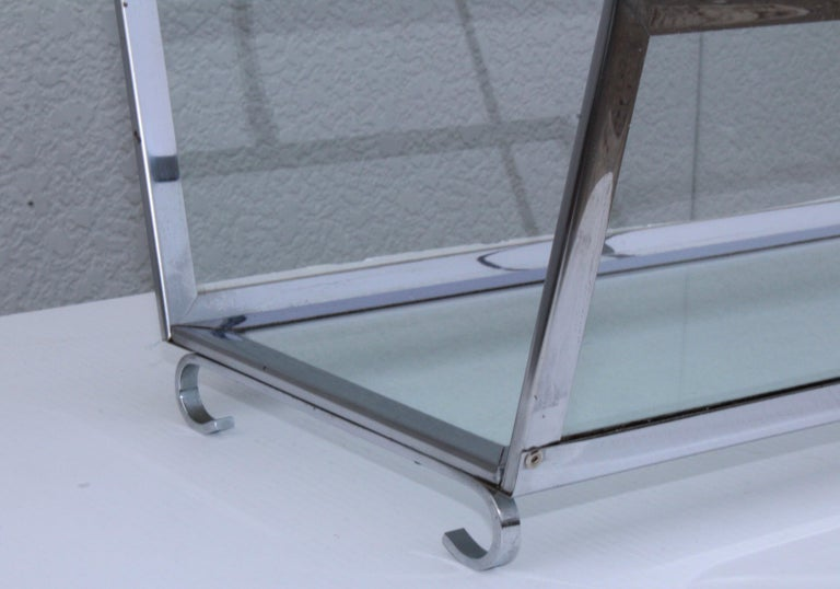 American 1970s Modern Chrome and Glass Log Holder For Sale