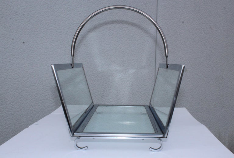 1970s Modern Chrome and Glass Log Holder In Good Condition For Sale In New York City, NY