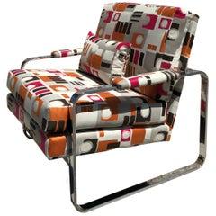 1970s Modern Chrome Club Chair