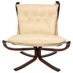 1970s Modern Falcon Chair by Sigurd Ressell for Vatne Møbler in Ivory Leather