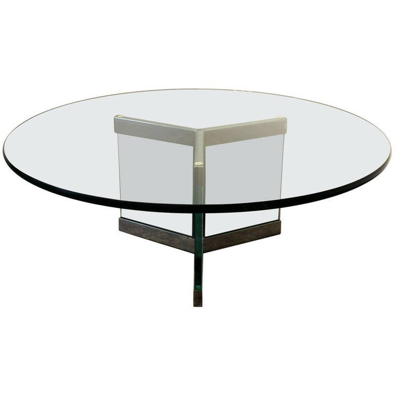 1970s Modern Glass And Chrome Coffee Table By Leon Rosen