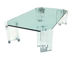 1970s Modern Hollywood Regency Lucite Glass Top Coffee Table