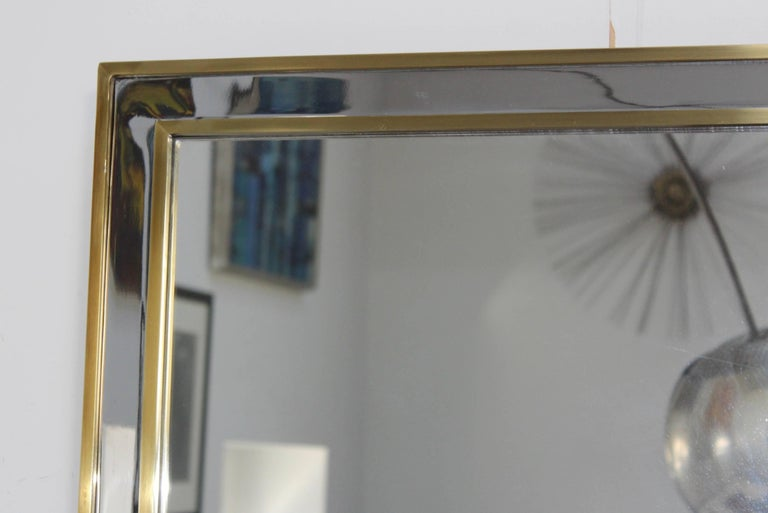 20th Century 1970s Modern Italian Chrome and Brass Mirror For Sale