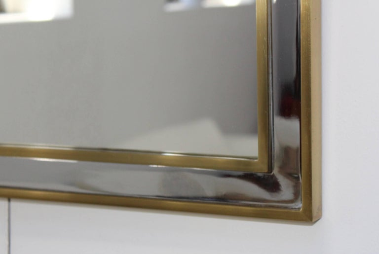 1970s Modern Italian Chrome and Brass Mirror For Sale 1