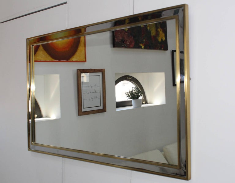 1970s Modern Italian Chrome and Brass Mirror For Sale 2