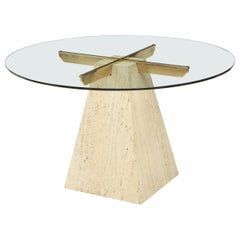 1970s Modern Italian Travertine Dining Table