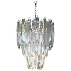 1970s Modern Large Three-Tier Lucite 9-Light Chandelier