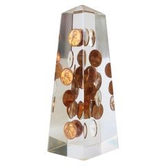 1970s Modern Lucite and Copper Penny Obelisk