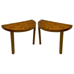 1970s Modern Milo Baughman Style Burl and Brass Console Tables, a Pair