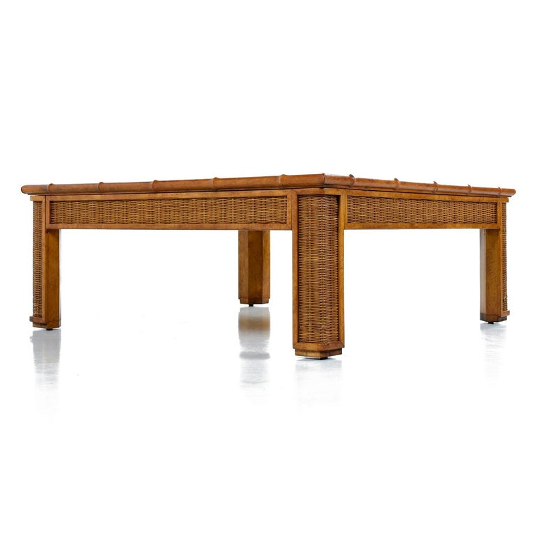 Mid-Century Modern 1970s Modern Monumental Glass Panel Reed Rattan Bamboo Coffee Table For Sale
