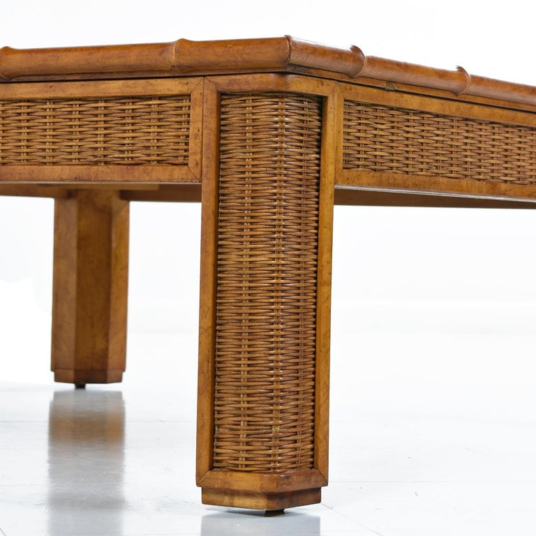 American 1970s Modern Monumental Glass Panel Reed Rattan Bamboo Coffee Table For Sale