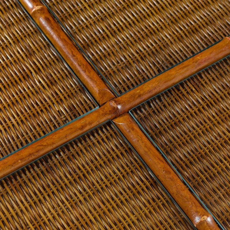 1970s Modern Monumental Glass Panel Reed Rattan Bamboo Coffee Table In Excellent Condition For Sale In Saint Petersburg, FL