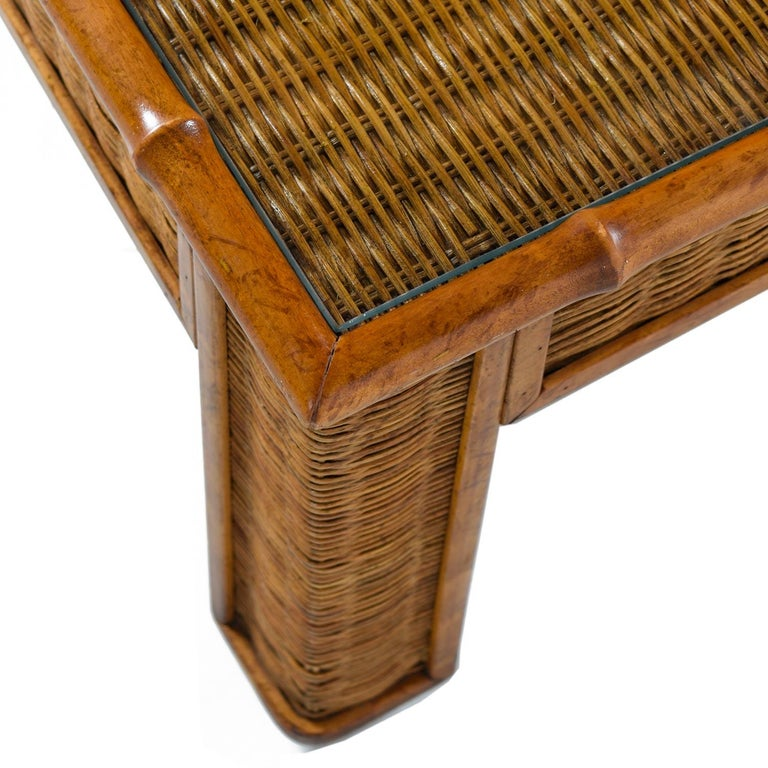 Late 20th Century 1970s Modern Monumental Glass Panel Reed Rattan Bamboo Coffee Table For Sale
