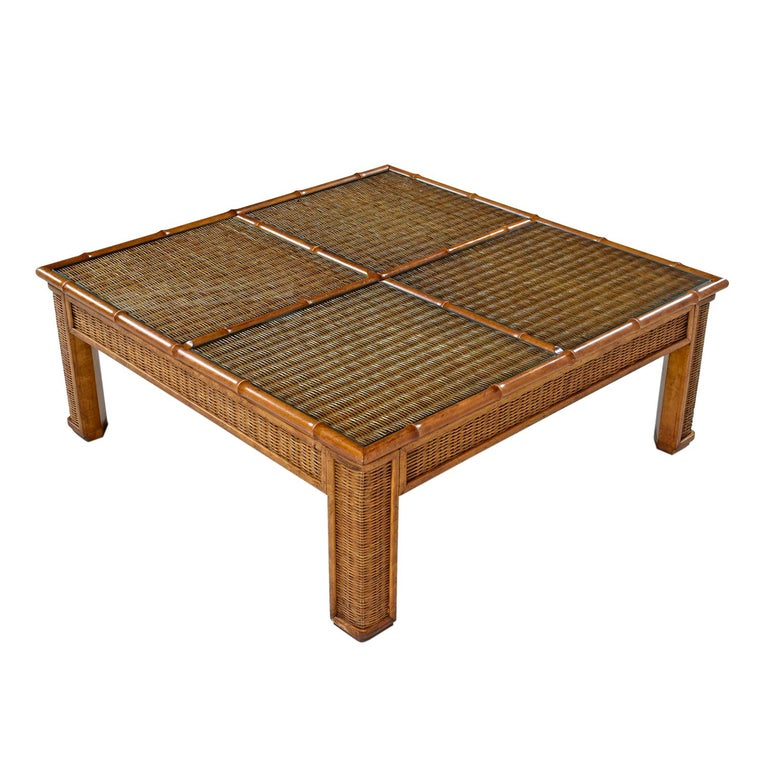 1970s Modern Monumental Glass Panel Reed Rattan Bamboo Coffee Table For Sale