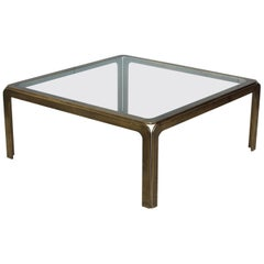 1970s Modern Patinated Brass Spanish Coffee Table