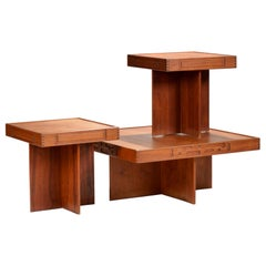 1970s Modern Studio Production Coffee and End Table Set in Walnut