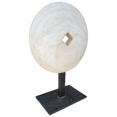 1970s Modern White Marble French Sculpture in a Iron Base