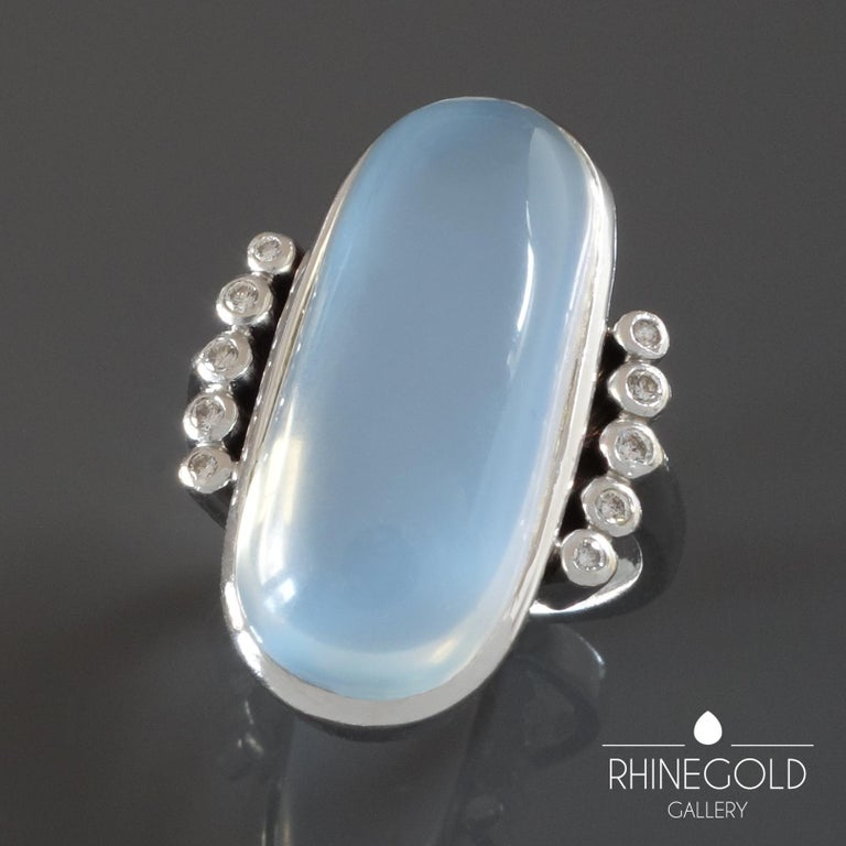 Women's 1970s Modernist 17.5 Carat Moonstone Diamond White Gold Cocktail Ring For Sale