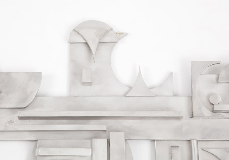 1970s Modernist Abstract Aluminum Wall Sculpture For Sale 4