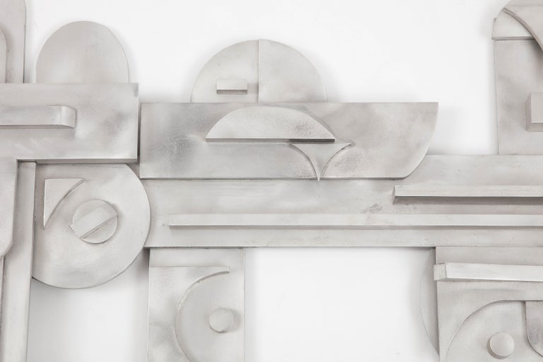 1970s Modernist Abstract Aluminum Wall Sculpture For Sale 5