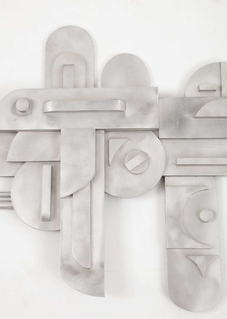 1970s Modernist Abstract Aluminum Wall Sculpture For Sale 6