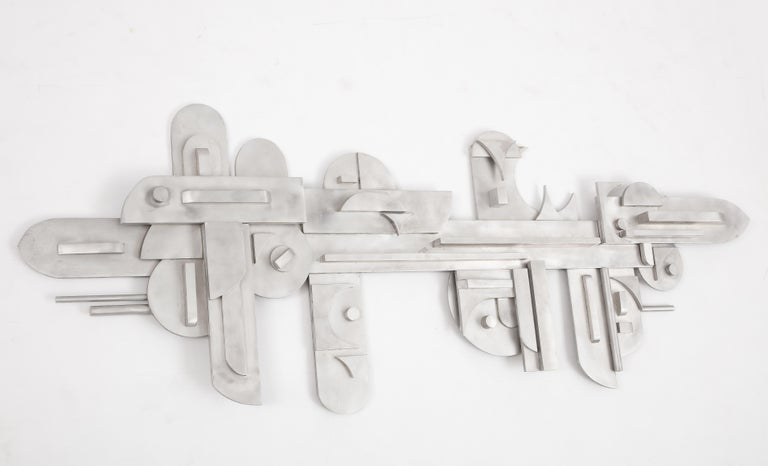 1970s Modernist Abstract Aluminum Wall Sculpture For Sale 7