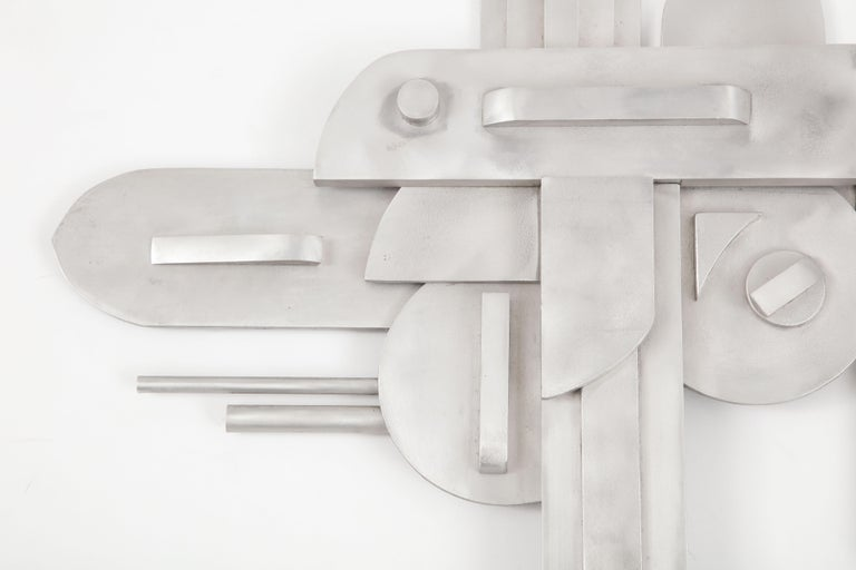 1970s Modernist Abstract Aluminum Wall Sculpture For Sale 8