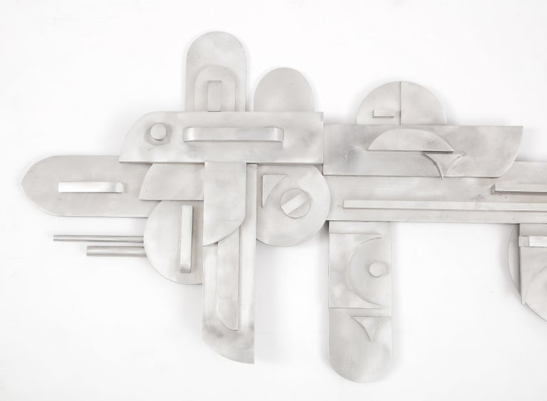 1970s Modernist Abstract Aluminum Wall Sculpture For Sale 9