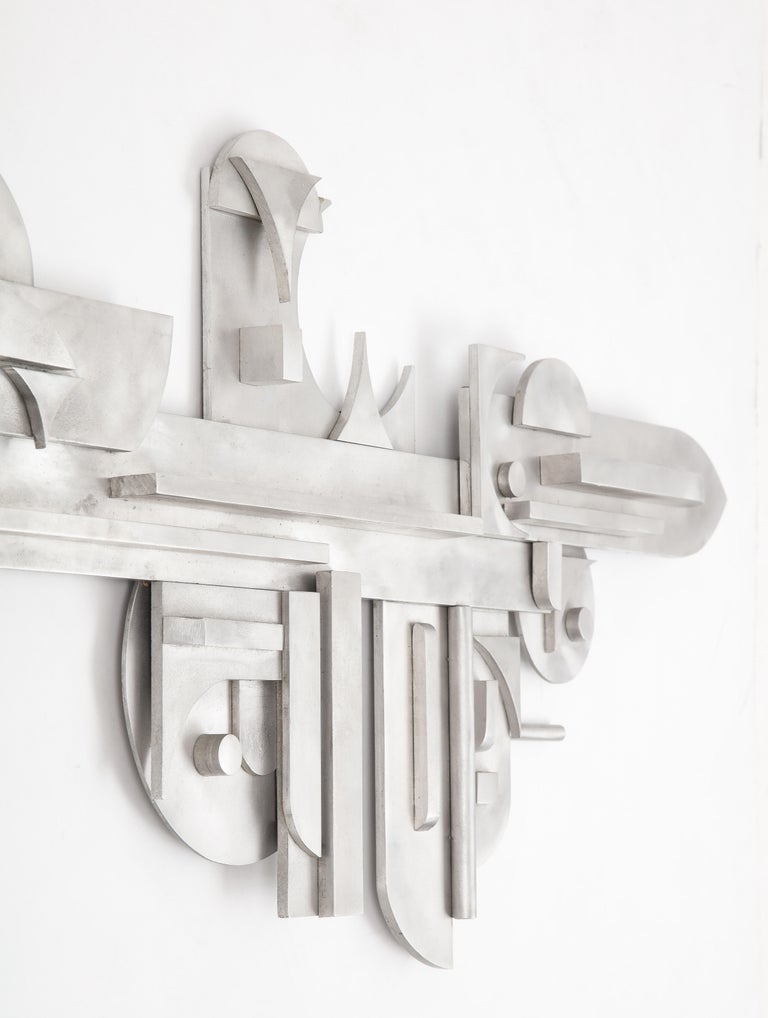 Mid-Century Modern 1970s Modernist Abstract Aluminum Wall Sculpture For Sale