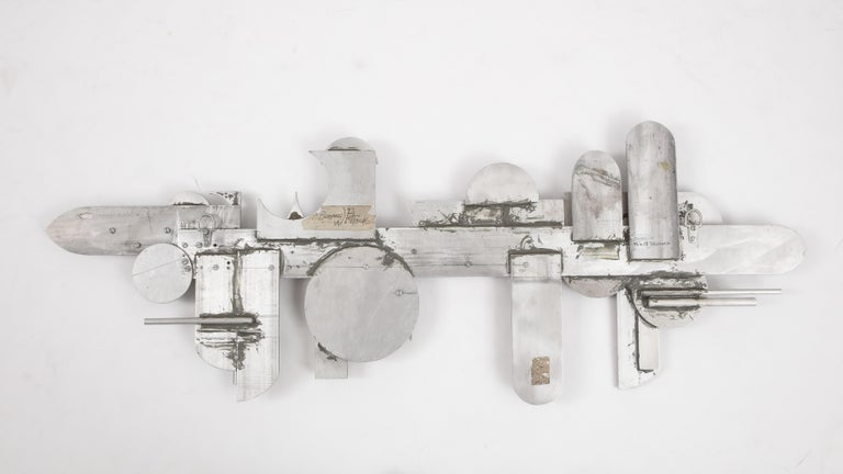 1970s Modernist Abstract Aluminum Wall Sculpture For Sale 1