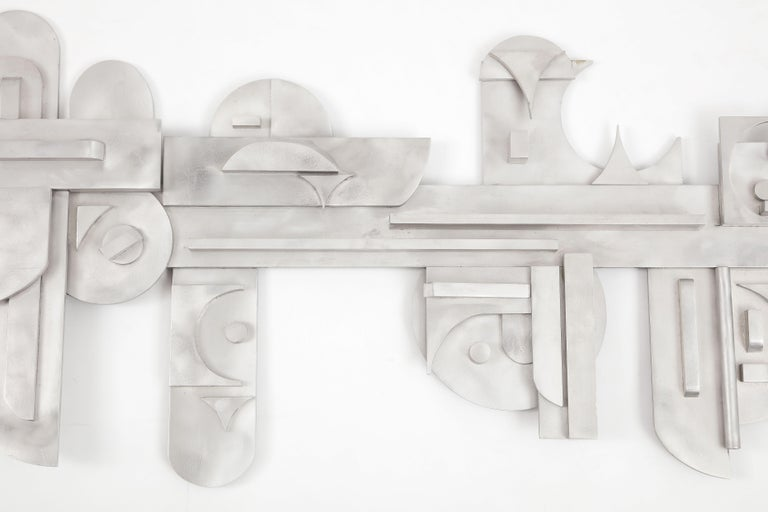 1970s Modernist Abstract Aluminum Wall Sculpture For Sale 2