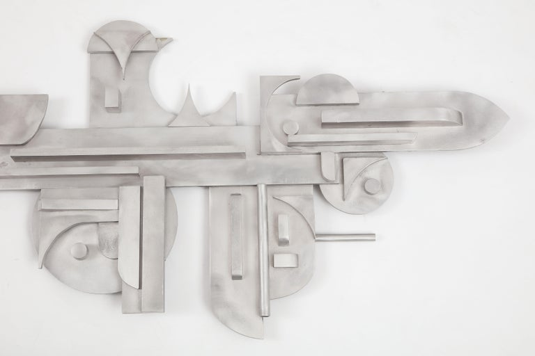 1970s Modernist Abstract Aluminum Wall Sculpture For Sale 3