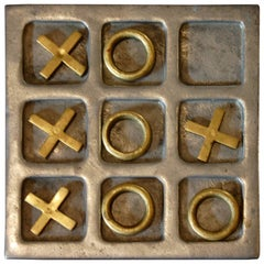 1970s Modernist Brass and Aluminum Tic Tac Toe Game