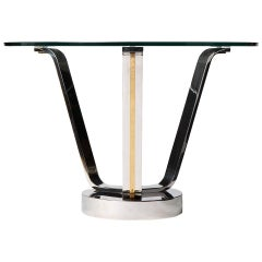 1970s Modernist Chromed Center Table by Karl Springer